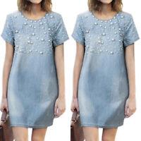 Womens Summer Jeans Denim Mini Dress Pearl Decor Casual Short Sleeve Tunic Dress