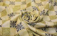 Vintage Beige Sari Estampado Floral Mujeres Bollywood Vestido Envoltura Crafts