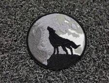 LONE WOLF Full Moon Howling Yowl Embroidered Patch Iron Sew Logo Hardcore Emblem