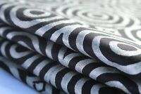 5 Yards Indian Black Silver 100% Cotton New Floral Hand Block Printed Fabric