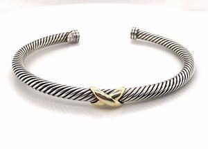 David Yurman Designer Signed X Bracelet 14K Gold and Sterling Silver Bracelet