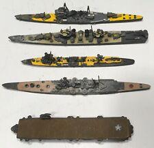 "5 X Lead Pewter Naval Ships - 5"" & 7"" Group = German & Us"