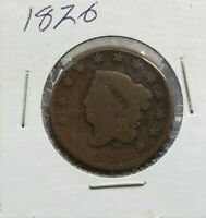1826 Coronet Liberty Head US Large Cent 1c Choice AG / Good condition