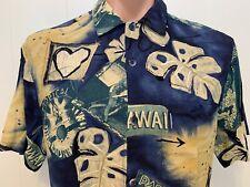Jams World  Hawaiian Hawaii Aloha Short Sleeve Button Front S Small Blue Shirt
