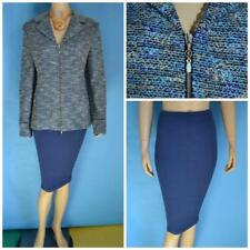 St John Knits Collection Blue Jacket Skirt XL L 12 14 2pc Suit Multicolor Zipper