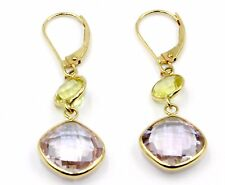 Pink Amethyst & Lemon Quartz Hanging Earrings,14K Yellow Gold Leverbacks