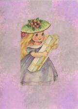 VINTAGE PRETTY BLONDE GIRL CHILD MINIATURE PRINT WATERCOLOR BORDER ART COLLAGE