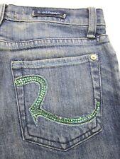 ROCK & REPUBLIC ROTH FLARE LEG WOMEN'S BLUE JEANS SIZE 26 X 34 BEDAZZLED POCKETS