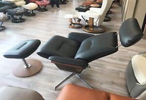 Fjords Riva Black Leather Swivel Recliner Chair Norwegian Scandinavian Lounger