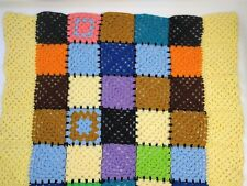 Vintage Granny Crochet Throw Colorful Squares Hand Knit Lap Blanket 44 x 44 inch