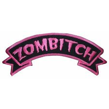 """""""Zombitch"""" Zombie Bitch Hot Pink Kreepsville Embroidered Iron On Applique Patch"""