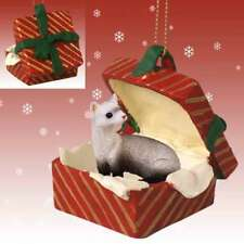 Ferret Red Gift Box Holiday Christmas Ornament