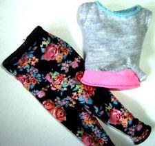 %***Barbie Made to Move Kleidung,Shirt,geblümte Leggings*rose***%