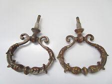 ancienne paire de poignées pendeloques de meuble-commode-tiroirs-en métal chromé