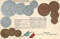 VINTAGE FRANCE FLAG & EMBOSSED COINS POSTCARD - BRONZE COPPER GOLD & SILVER