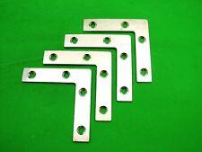 Corner plate flat corner brace fixing L bracket, 76x76mm, pack of 4 zinc plated