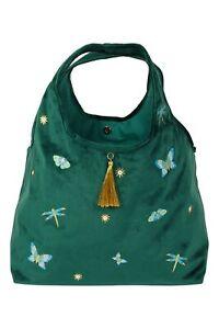 Bag - Stitched green velvet shoulder bag - Luxury bag by Paperchase - (2695)
