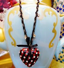 Betsey Johnson VINTAGE Necklace TARTAN HEART Red LUCITE Black Plaid CRYSTAL