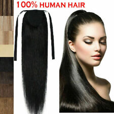 16-24inch Long Straight  Rmy Human Hair Ponytail , Clip in Hair Extensions  80G