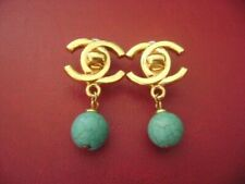 Chanel vintage CC logo Turquoise color dangle clips earrings