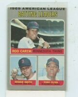 1970 Topps #62 AL Batting Leaders Rod Carew / Reggie Smith / Tony Oliva