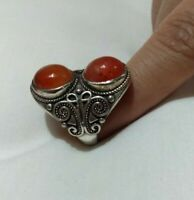 Ancient Antique Victorian Silver Ring carnelian Stone Rare Old vintage