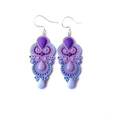 Lavender Earrings Purple Chandelier Long Drop Big Geometric Earrings Jewelry