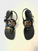 Tory Burch Miller Sandal Holly Kitten Heel Thong Black Gold Patent Leather 9.5