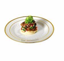 "120 9"" Dinner Plates Masterpiece Style Bone-Gold Rim Disposable Plastic"