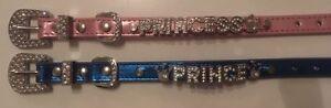 Princess / Prince Dog Collar with Rhinestone Buckle and Crown Charm. UK SELLER