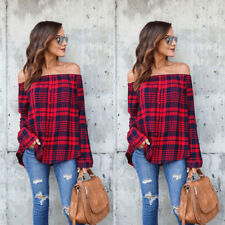 Women's Off Shoulder Plaid Tops Long Sleeve Shirt Casual Blouse Loose T-shirt