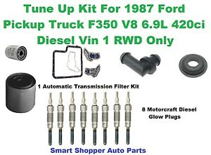 Tune Up Kit For 1987 Ford Truck F350 V8 6.9L Diesel RWD Spark Plugs, Oil Filter