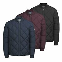 Mens Jacket JACK & JONES South Quilted Zip Up Bomber Coat