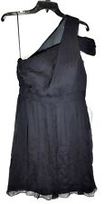 J. CREW Women's Cara Silk Chiffon Black Dress (Size 6) One Shoulder >NEW<