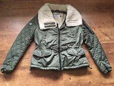 Ladies Superdry Khaki Bomber Jacket Size Large With Cream Fleece Collar 14