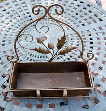 Vintage Acorn Design Wrought Iron Metal Hanging or Table Top Flower Planter