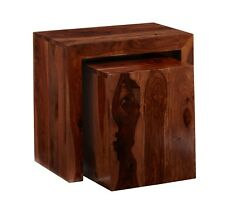 Cubed Nest of 2 Tables Zara Cube Sheesham Collection CL14