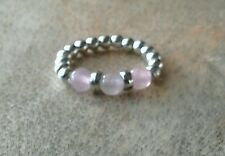 Rose Quartz Silver Ball Beaded Stretchy Ring Gemstone, Love