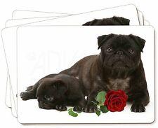 Negro carlino perros con Rosa Roja Imagen Manteles Individuales