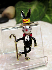 Vintage Pearl Head Bunny Rabit with Top Hat and Cane Figural Pin Brooch - MINT!