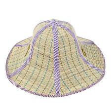 Outdoor Fishing Beach Wide Brim Summer Sun Foldable Straw Hat Purple A9B7
