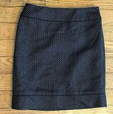 Ann Taylor Petites 0P Black Gray Blue Geometric Pattern Straight Mini Skirt