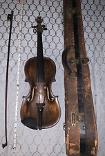 ANTIQUE Adult VIOLIN GERMAN ORIGINAL CASE Mother Of Pearl inlay W Bow & Extras