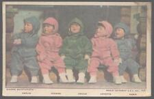 Postcard CANADA Dione Quintupletts in Winter Snowsuits 1936.