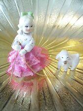 RARE VTG Little Bo Peep Girl Pink Lace Holds Staff Walking Sheep Lamb Figurine