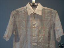 Geoffrey Beene Short Sleeve Shirt White Coral M Men's Clothing