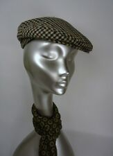 VINTAGE MENS RETRO  CHECK  WOOL FLAT PEAK CAP WARM BAKER HAT indie mod