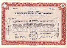 Kaiser-Frazer Corporation Stock Certificate Brown Nevada
