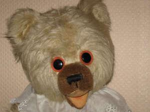 Vintage European Baby Bear Long Mohair Felt Disk Eyes