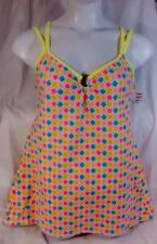 NEW MAINSTREAM 1Piece Dress Swimsuit Size 14 Large L Check Print Attach Skirt